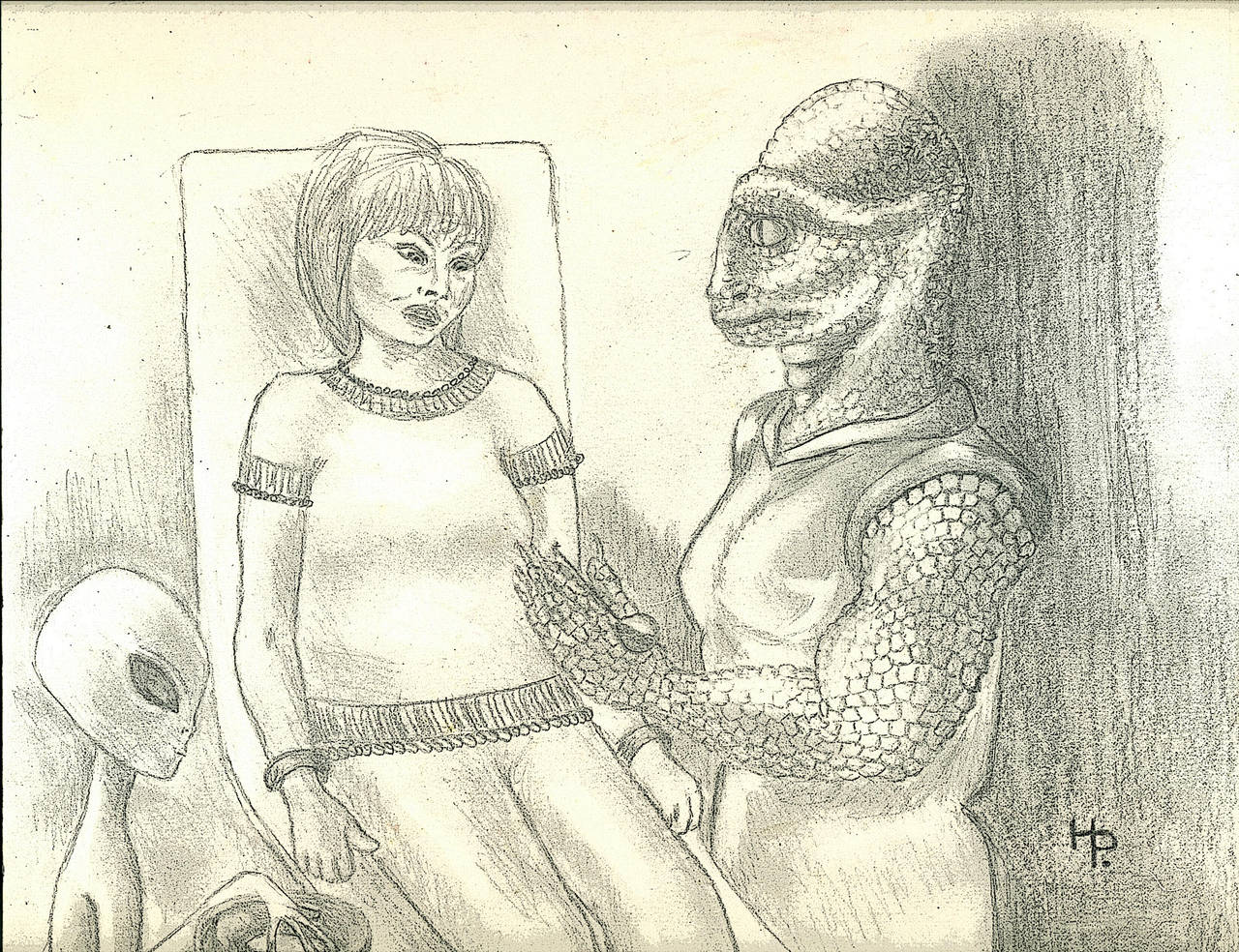 Reptillian and Helper (Copyright Hilary Porter) by MyAlienAbductionArt
