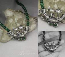 Mushroom dreams - silver and aventurines by drakonaria