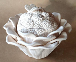 Handbuilt Stoneware Lidded Box - Bisque by DarkEyedDeviant