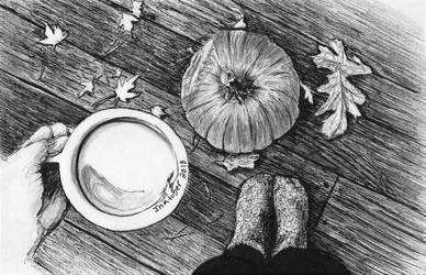 Inktober 2018 drawing 14- Autumn deck by MsAlayniousCreations