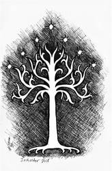 Inktober 2018 drawing 18- White Tree of Gondor by MsAlayniousCreations