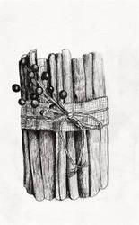 Inktober 2018 drawing 16- Cinnamon Stick Bundle by MsAlayniousCreations