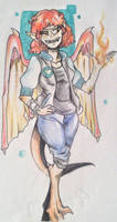 Mariania Victous (human/dragon form) by DoodleFaceArtist