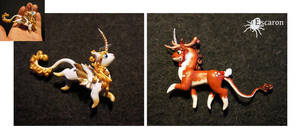 Angel and Reindeer Mini Unicorn - Sculptures by Escaron