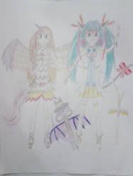 Katherine Momomiya Mutou and Ahsoka Dixie Sparkle by DragonHero15