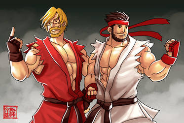 Ryu and Ken Caricature by Wenart