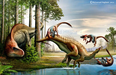 Deinonychus VS Tenontosaurus by haghani