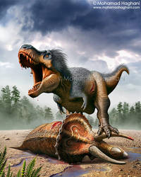 Tyrannosaurus rex Vs Triceratops by haghani