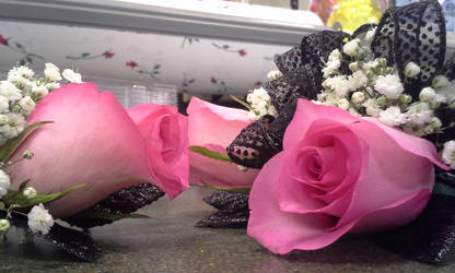 Black and Pink Rose Corsage n' Bout by pippierafrostlin