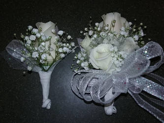 Matching White Rose Wrist Corsage and Bout by pippierafrostlin