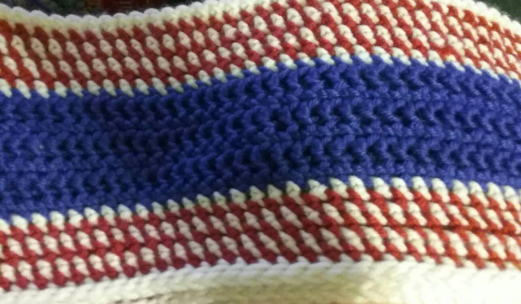 Red, White and Blue Infinity Scarf  by pippierafrostlin
