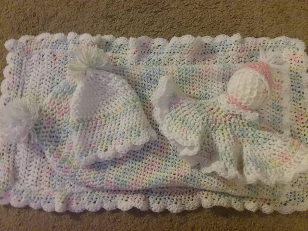 Crocheted Baby Blanket, Cocoon, Hat and Doll by pippierafrostlin