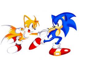 Nostalgia Sonic and Tails by darkspeeds