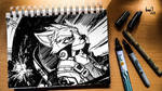 Ace Pilot Fox McCloud (ink-twenty) by darkspeeds