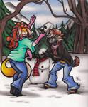 Art Trade : Taryn Lacy and Chislett's Snowman Fun by calicokatt