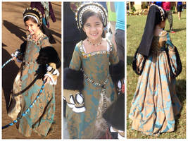 Child's Teal/Gold Tudor Dress and French Hood II by PeacockandPeridot