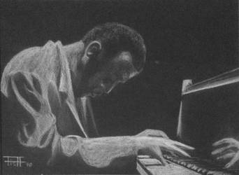 Bud Powell-  White pencil on black paper by livefunknouveau