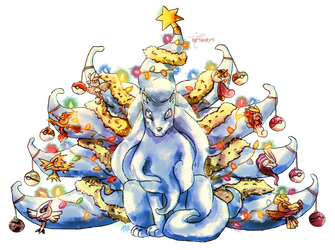 Pokemon Christmas - Snowmon Ninetales by neshirys