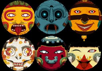 Aztec Deity Stickers! by MangoMendoza