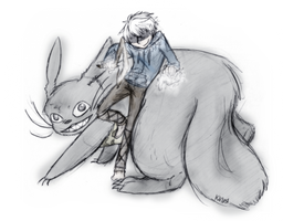 Jack Frost and Totoro ready for battle by MotherofOnity