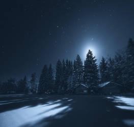 Barns Under The Moonlight by JoniNiemela