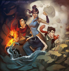 LoK: Mako, Korra and Bolin by silverteahouse