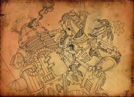 Steampunk Dalek vs Cybusman by Promus-Kaa