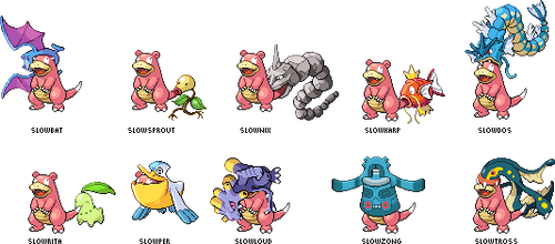 Slowbro with different Pokemon on tail (or other) by Merry255