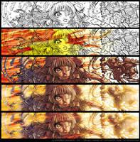 La Guerrire Innocente - BlackandWhite vs colors 01 by Karafactory