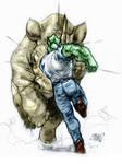 Savage Dragon vs Rino by caananwhite