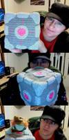 Crochet Companion Cube by Whimsy-Floof