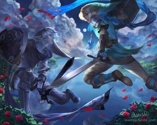 Hyrule Warriors - Link v. Dark Link by awanqi