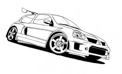 NFS MostWanted Clio V6 lineart by Samantha-dragon