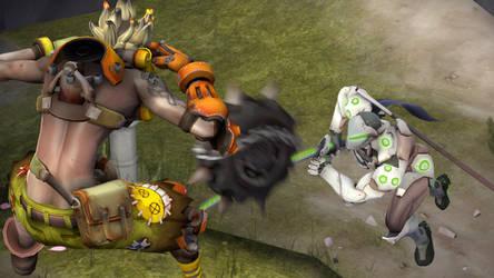 Junkrat vs. Genji by SkyminSlash