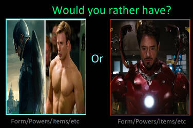 Would you rather have Cap's SS Body or Tony's Mind by KeybladeMagicDan