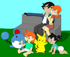 Ash, Misty and Kids by Da-Wabbit