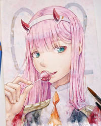 Zero Two Watercolor Fanart by Milkaboom