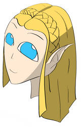 Alien Zelda (first drawing on display tablet) by monofluore
