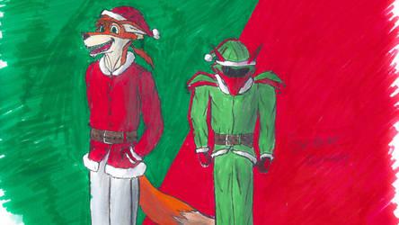Merry Christmas from Crimson and Atlas +Speedpaint by CrimsonFox74