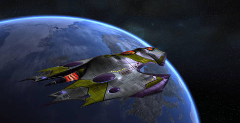 I.S.S. Charybdis orbiting earth by Cy2