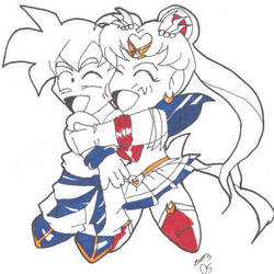 S moon and Goku chibi by crystle