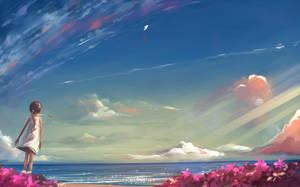 Girl and kite by Hangmoon