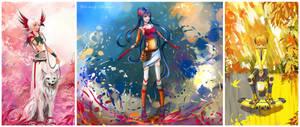 Color born - triptych by Hangmoon