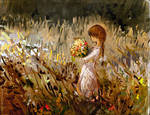Girl with bouquet by Hangmoon