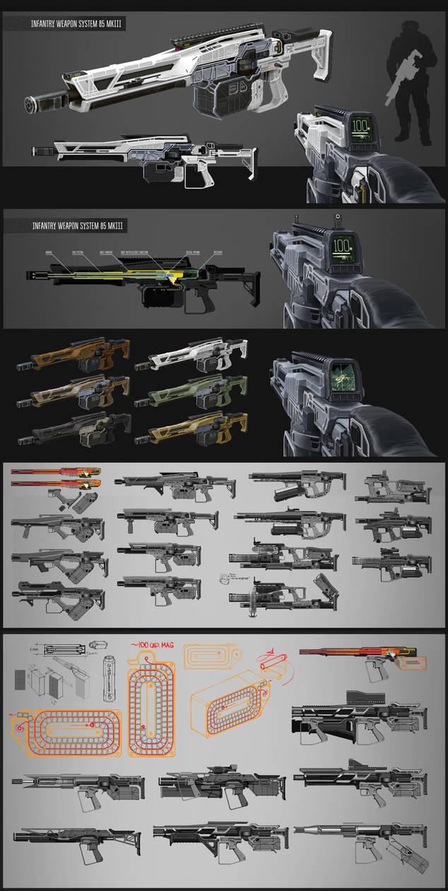 Assault rifle/LMG concept by vombavr