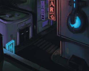 Neon cyberpunk sketch by monteirohq