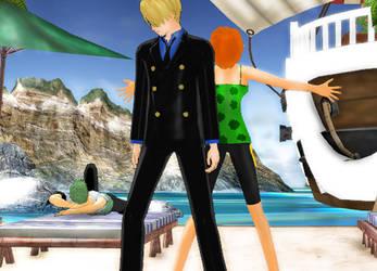 One Piece - Nami and Sanji [Bad Apple] by stopmotionOSkun