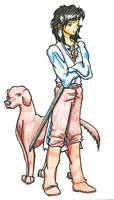 Haplo and Dog Colored by Ahr0