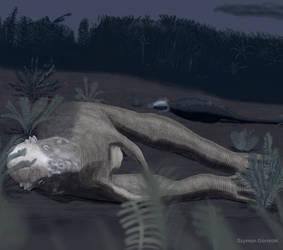 Sleeping Pachycephalosaurus by Szymoonio
