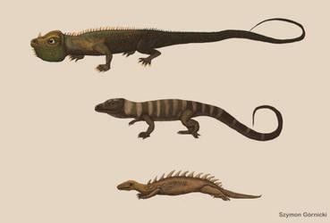 Restoration of Mantell and Scharf dinosaurs (1833) by Szymoonio